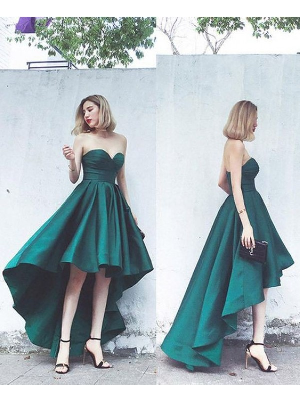 A-Line/Princess Satin Ruffles Sweetheart Asymmetrical Dresses