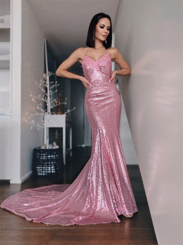 Mermaid Sequins V-neck Long Dress