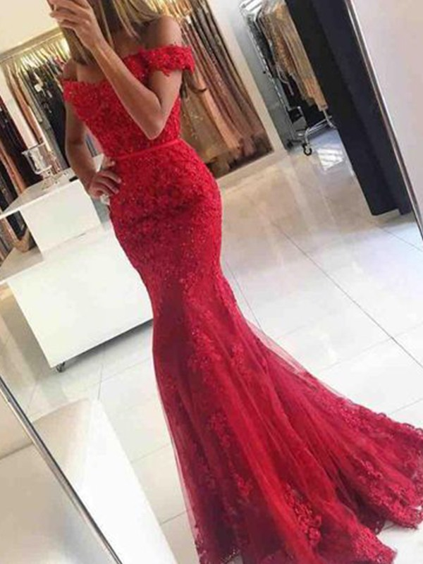 Mermaid Off-the-Shoulder Long Tulle Dress