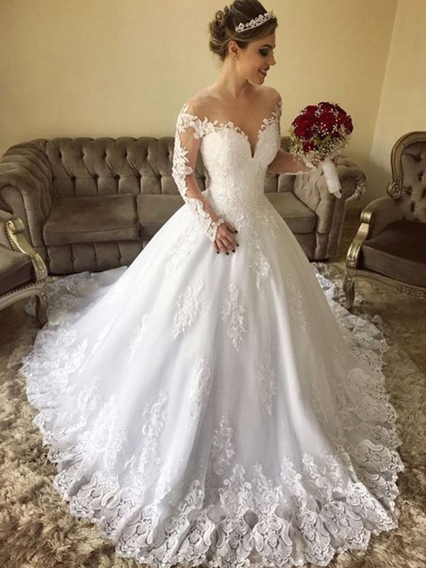 Ball Gown Off-the-Shoulder Long Sleeves Long Tulle Wedding Dress