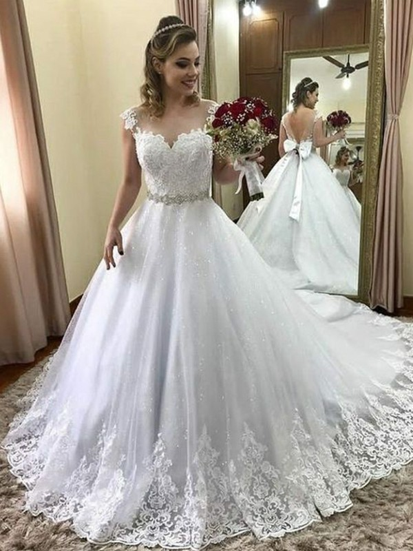 Ball Gown Sweetheart Long Tulle Wedding Dress