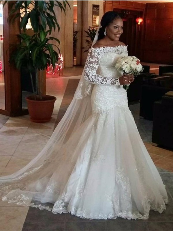 Mermaid Off-the-Shoulder Long Sleeves Lace Long Tulle Wedding Dress