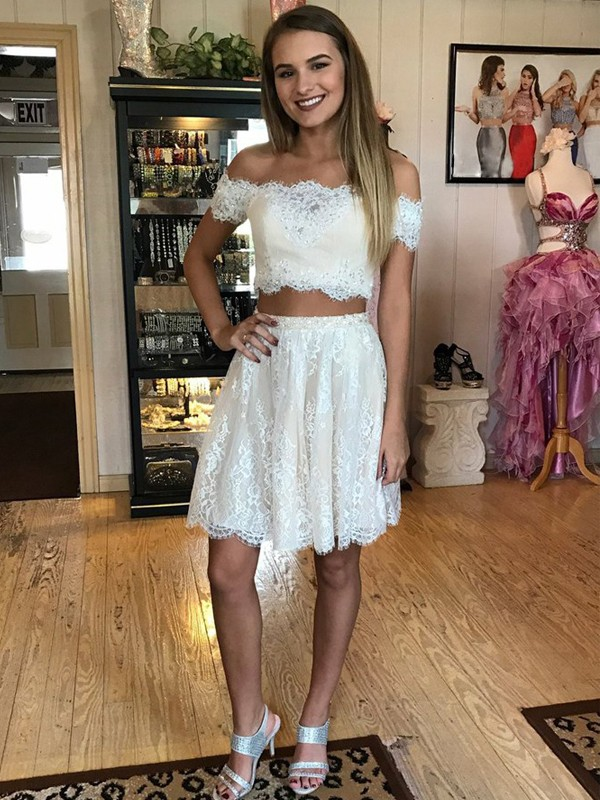 A-Line/Princess Off-the-Shoulder Short Lace Two Piece Dress