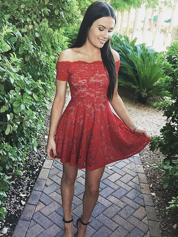 A-Line/Princess Off-the-Shoulder Short Sleeves Short Lace Dress
