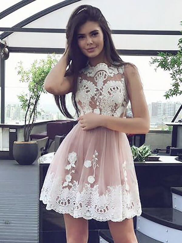 A-Line/Princess Scoop Lace Short Chiffon Dress