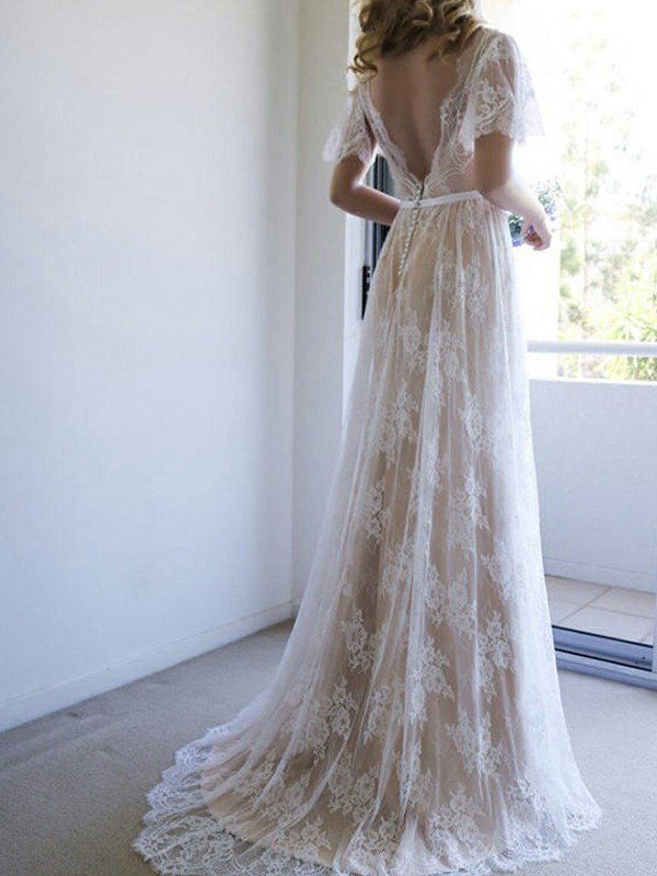 A-Line/Princess Lace V-neck Short Sleeves Long Wedding Dress