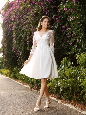 A-Line/Princess V-neck 3/4 Sleeves Short Chiffon Wedding Dress