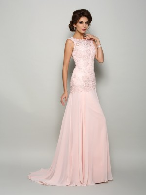 Mermaid Scoop Long Chiffon Mother of the Bride Dress