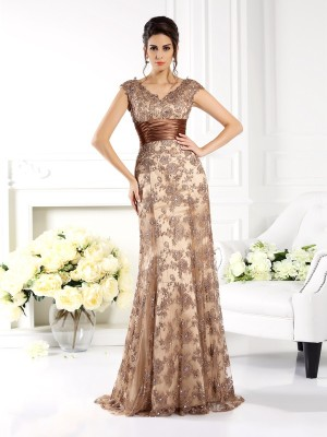 A-Line/Princess V-neck Long Satin Mother of the Bride Dress
