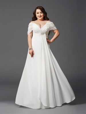 A-Line/Princess Off-the-Shoulder Short Sleeves Long Chiffon Plus Size Dress