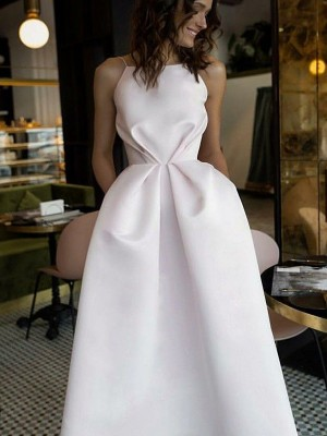 A-Line/Princess Halter Tea-Length Satin Dress