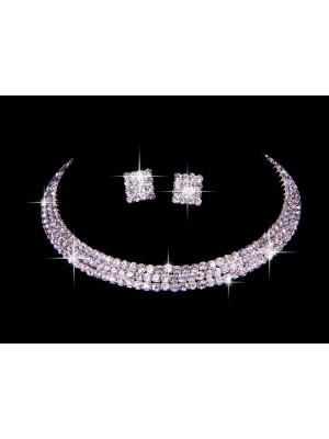 New Rhinestones Wedding Necklace Earring Set