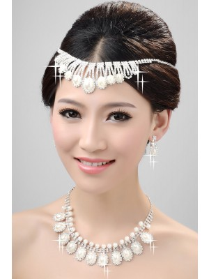 New Alloy Wedding Headpiece Necklace Earring Set