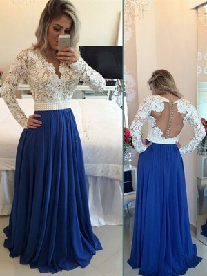 A-Line/Princess V-neck Long Sleeves Chiffon Long Dress