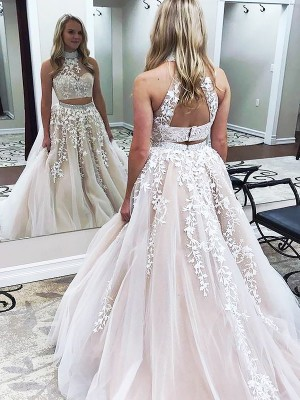 A-Line/Princess High Neck Long Tulle Two Piece Dress