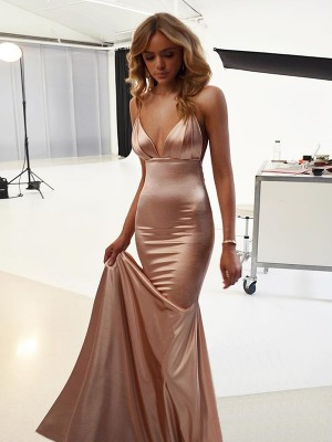 Mermaid Straps Long Silk like Satin Dress