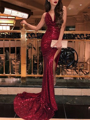 Mermaid V-neck Long Sequins Dress
