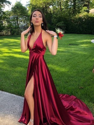 A-Line/Princess Halter Long Silk like Satin Dress