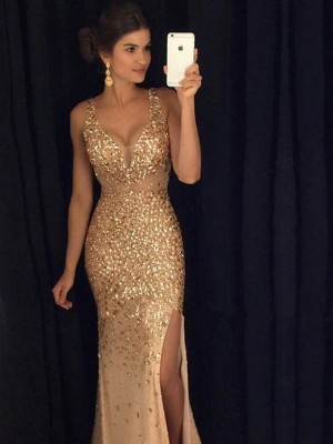 Sheath/Column V-neck Sequins Long Jersey Dress