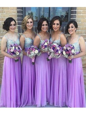 A-Line/Princess Sweetheart Long Sequins Chiffon Bridesmaid Dress