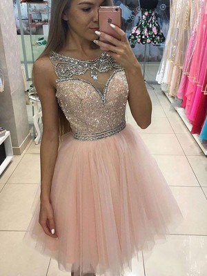 A-Line/Princess Scoop Short Tulle Dress
