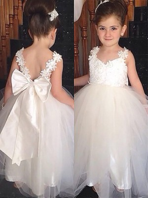 Ball Gown Sweetheart Long Tulle Flower Girl Dress