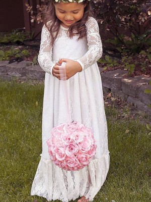 A-Line/Princess Long Sleeves Jewel Lace Long Flower Girl Dress