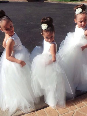 Ball Gown Jewel Long Tulle Flower Girl Dress