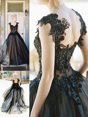 Ball Gown Sweetheart Lace Long Tulle Dress