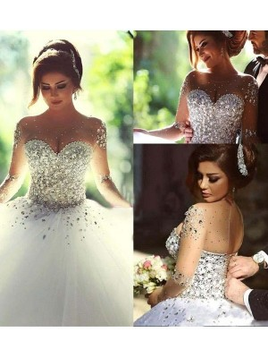 Ball Gown Long Sleeves Scoop Long Tulle Wedding Dress
