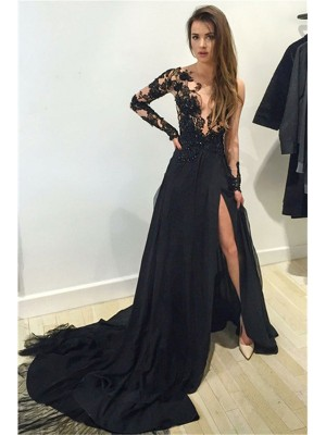 A-Line/Princess Bateau Long Sleeves Chiffon Long Dress