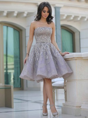 A-Line/Princess Strapless Sequins Short Tulle Dress