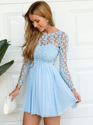A-Line/Princess Scoop Long Sleeves Lace Short Chiffon Dress
