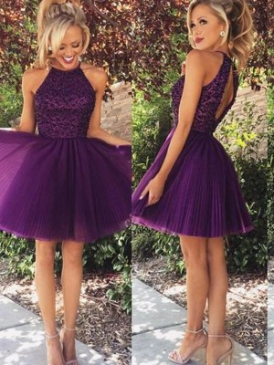 A-Line/Princess Halter Short Tulle Dress