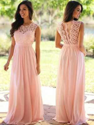 A-Line/Princess Scoop Long Chiffon Dress