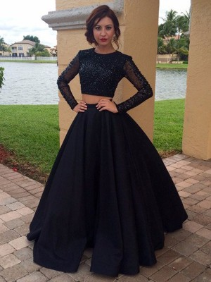 Ball Gown Long Sleeves Scoop Long Satin Dress