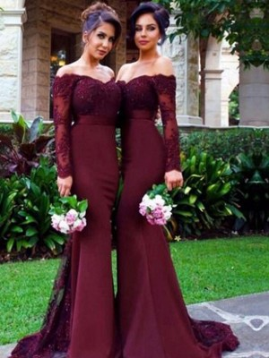 Mermaid Off-the-Shoulder Long Sleeves Satin Long Bridesmaid Dress