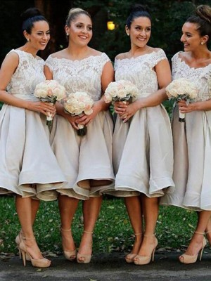 A-Line/Princess Off-the-Shoulder Chiffon Short Bridesmaid Dress