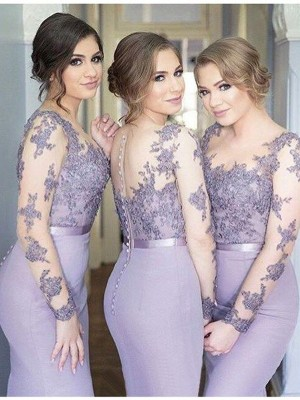 Mermaid Scoop Long Sleeves Jersey Long Bridesmaid Dress