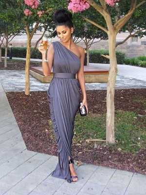 Sheath/Column One-Shoulder Long Jersey Bridesmaid Dress