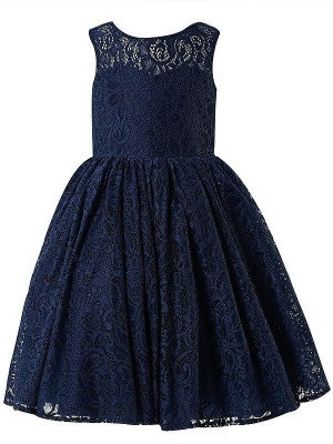 A-Line/Princess Scoop Lace Tea-length Flower Girl Dress