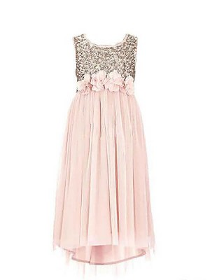 A-Line/Princess Scoop Sequins Chiffon Long Flower Girl Dress