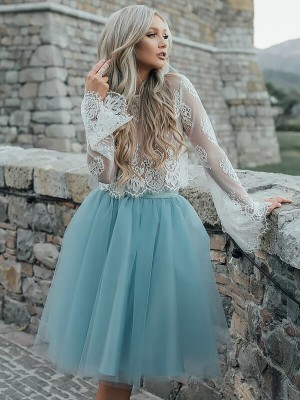 A-Line/Princess Scoop Long Sleeves Short Tulle Dress