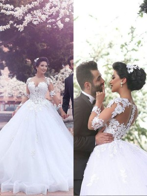 Ball Gown Long Sweetheart Long Sleeves Tulle Wedding Dress