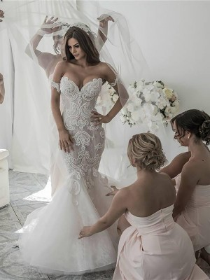 Mermaid Long Off-the-Shoulder Tulle Wedding Dress