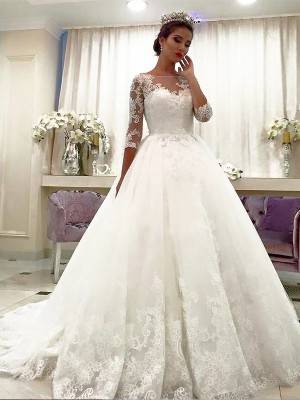 Ball Gown Tulle 3/4 Sleeves Bateau Lace Long Wedding Dress
