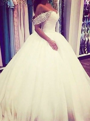 Ball Gown Tulle Off-the-Shoulder Long Wedding Dress