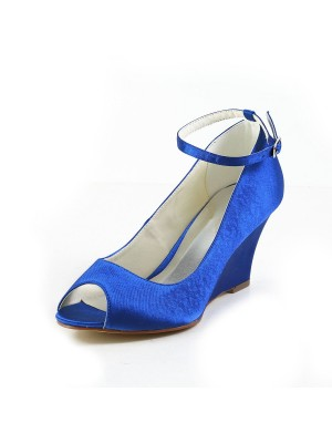 New Satin Wedge Heel Wedges Peep Toe Wedges Shoes Buckle