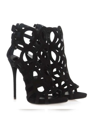 New Stiletto Heel Suede Peep Toe Sandals Shoes