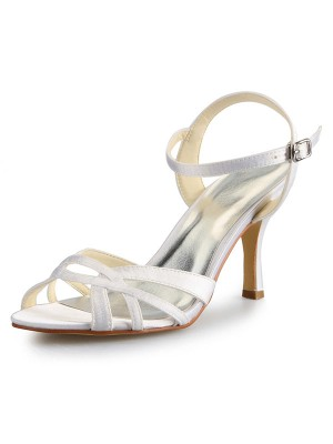 New Stiletto Heel Peep Toe Satin Buckle Sandal Dance Shoes